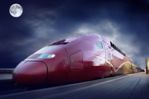 vehicle, Train, Railway, Moon, CGI, Clouds, Motion blur, Modern, TGV, France
