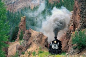 vehicle, Train, Railway, Steam locomotive, Nature, Trees, Forest, Rock, Mountains, Smoke