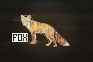 glitch art, Fox, Black, Abstract