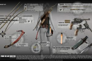 Lara Croft, Tomb Raider, Weapon, Gun, Bow, Digital art