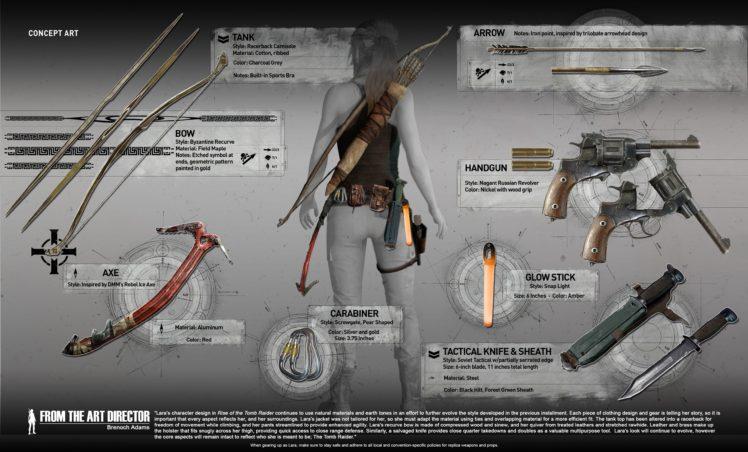 Lara Croft, Tomb Raider, Weapon, Gun, Bow, Digital art HD Wallpaper Desktop Background