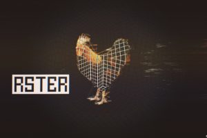 glitch art, Abstract, Rooster