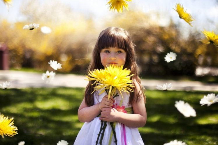 children, Flowers, Floating, Bokeh HD Wallpaper Desktop Background
