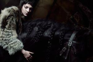 model, Women, Brunette, Horse