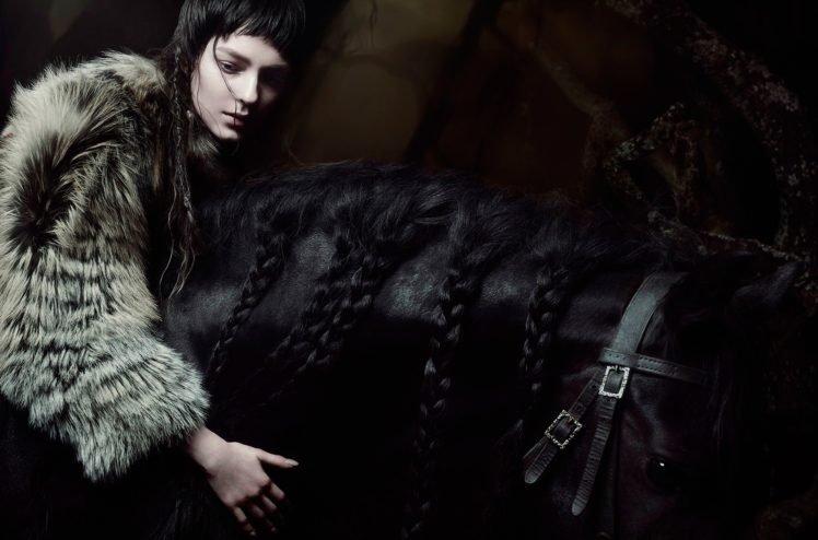 model, Women, Brunette, Horse HD Wallpaper Desktop Background