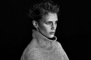 model, Women, Face, Freckles, Monochrome