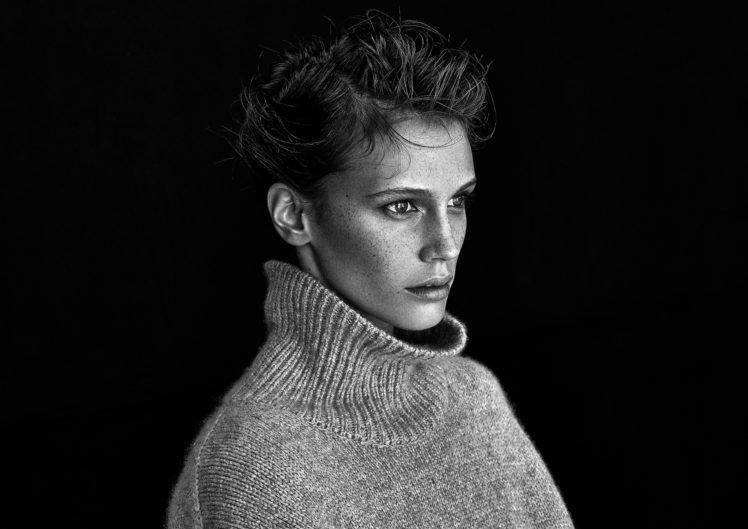 model, Women, Face, Freckles, Monochrome HD Wallpaper Desktop Background