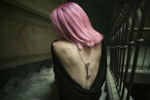 women, Stairs, Pink hair, Backless, Keys