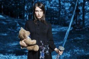 women, Teddy bears, Sword