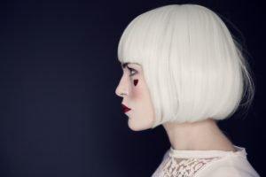 women, Face, White hair, Profile, Short hair, Hearts