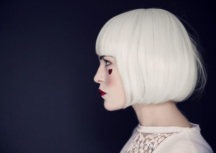Women Face White Hair Profile Short Hair Hearts Hd Wallpapers