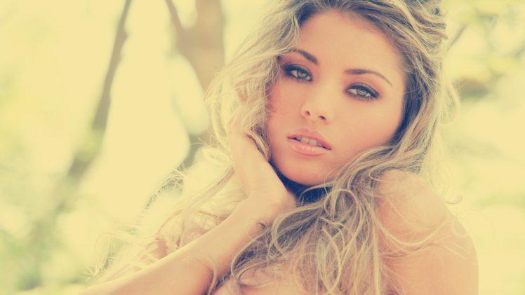 women, Women outdoors, Blonde, Face, Long hair, Sepia HD Wallpaper Desktop Background