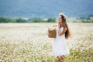 women, Model, Blonde, Long hair, White dress, Flowers, Women outdoors, Field, Flower in hair, Closed eyes, Chamomile, Blossoms