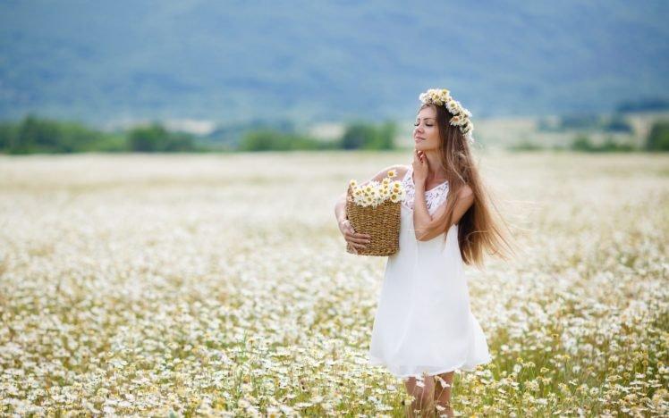 women, Model, Blonde, Long hair, White dress, Flowers, Women outdoors, Field, Flower in hair, Closed eyes, Chamomile, Blossoms HD Wallpaper Desktop Background