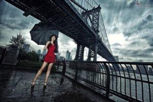women, Model, Brunette, Red dress, High heels, Umbrella, Rain, Women outdoors, Manhattan Bridge