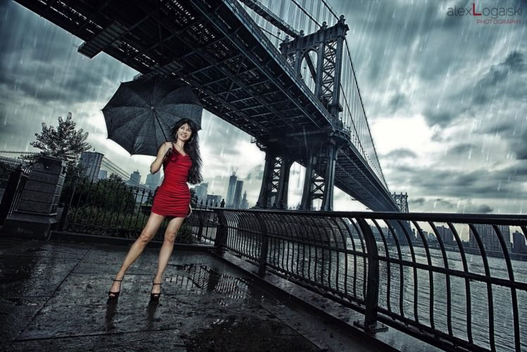women, Model, Brunette, Red dress, High heels, Umbrella, Rain, Women outdoors, Manhattan Bridge HD Wallpaper Desktop Background
