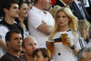 blonde, Beer, Germany, Sports jerseys, Soccer, Model, Sarah Brandner