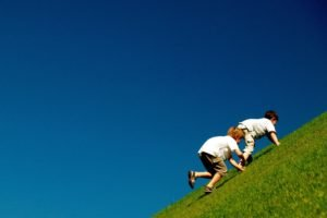 hill, Grass, Children, Climbing