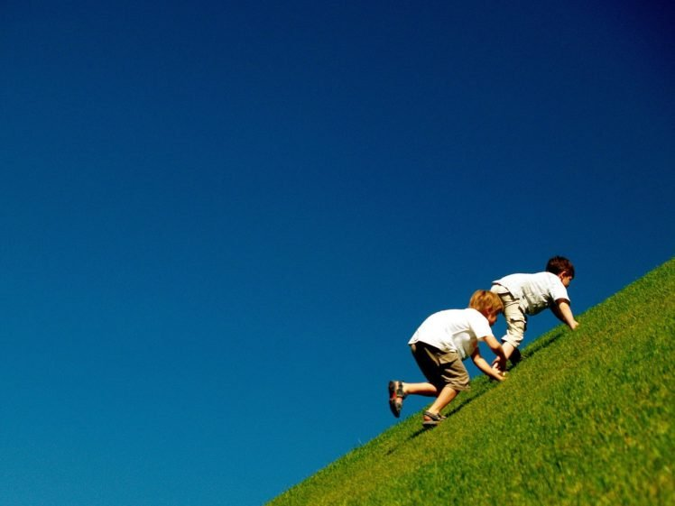 hill, Grass, Children, Climbing HD Wallpaper Desktop Background