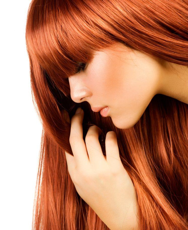 women, Model, Redhead, Long hair, Face, Airbrushed, Profile, White background, Hand, Smooth skin, Bangs HD Wallpaper Desktop Background