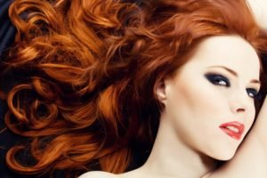 women, Model, Redhead, Long hair, Face, Airbrushed, Wavy hair, Makeup, Red lipstick, Open mouth, Smooth skin, Portrait