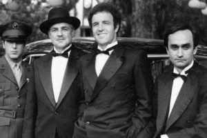 movies, Men, Actor, Legends, The Godfather, Vito Corleone, Michael Corleone, Marlon Brando, Al Pacino, Monochrome, Suits, Uniform, Old car, John Cazale, James Caan, 1972, Families, Gangsters, Soldier