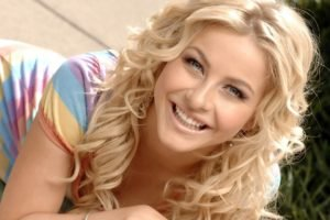 women, Blonde, Long hair, Dancers, Actress, Julianne Hough, Smiling, Blue eyes, Wavy hair, Face, Women outdoors, Dress