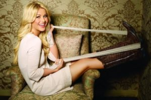 women, Blonde, Long hair, Dancers, Actress, Julianne Hough, Smiling, Blue eyes, Boots, Belt, Sitting, Armchairs