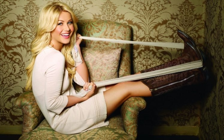 women, Blonde, Long hair, Dancers, Actress, Julianne Hough, Smiling, Blue eyes, Boots, Belt, Sitting, Armchairs HD Wallpaper Desktop Background