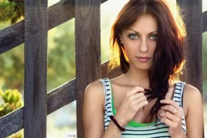 women, Model, Brunette, Green eyes, Looking at viewer, Women outdoors
