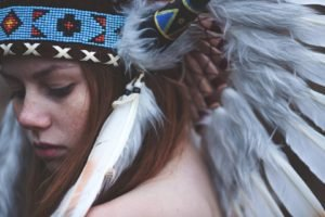 women, Model, Redhead, Long hair, Face, Feathers, Native Americans, Freckles, Headdress