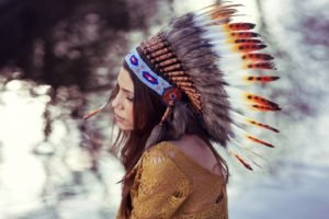 women, Model, Redhead, Long hair, Face, Feathers, Native Americans, Women outdoors, Sweater, Headdress