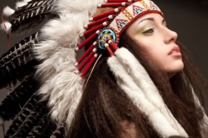 women, Model, Long hair, Face, Feathers, Native Americans, Brunette, Makeup, Brown eyes, Open mouth, Simple background, Headdress