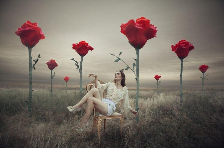 women, Model, Brunette, Fantasy art, High heels, Rose, Photo manipulation, Red flowers HD Wallpaper Desktop Background