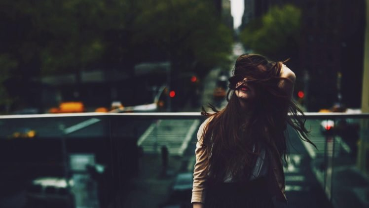 long hair, Brunette, Women, Women outdoors HD Wallpaper Desktop Background