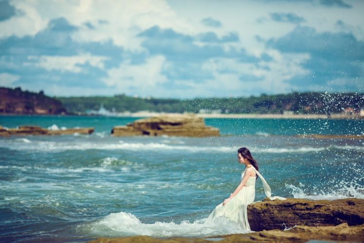 sea, Nature, Women HD Wallpaper Desktop Background