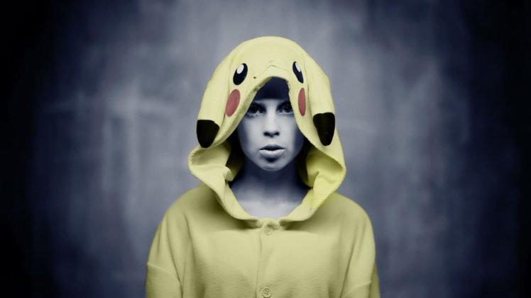 women, Yolandi Visser, Die Antwoord, Costumes, Pikachu, Pokemon, Music, Selective coloring HD Wallpaper Desktop Background