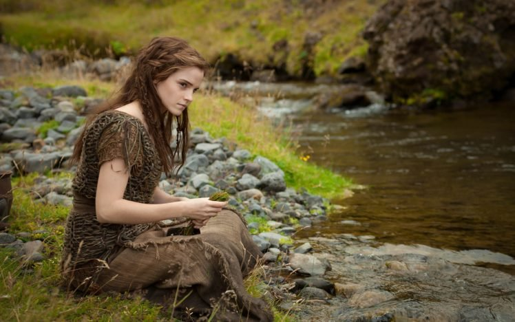 Emma Watson, Women, Actress, Women outdoors, Nature, Brunette, River, Noah (movie) HD Wallpaper Desktop Background