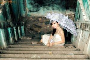 Asian, White dress, Women