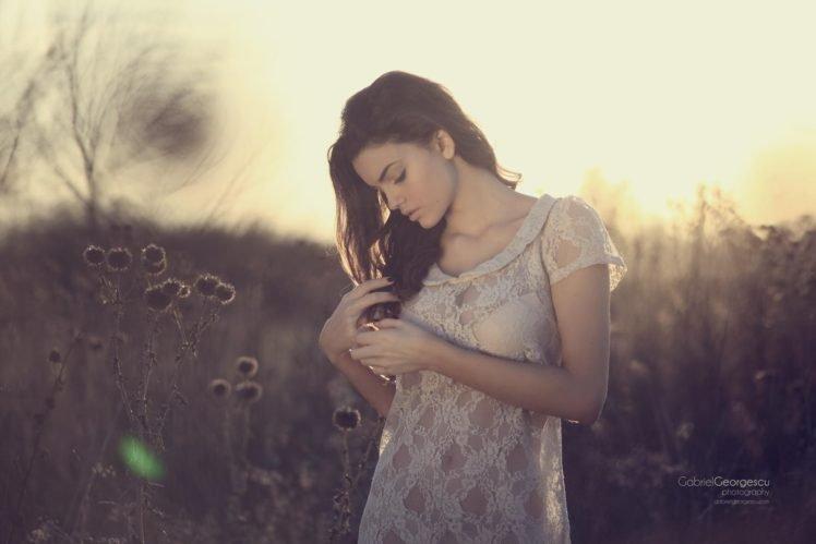 women, Model, Brunette, Women outdoors, Nature, White clothing HD Wallpaper Desktop Background