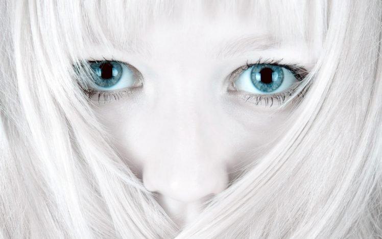 dyed hair, Pale, Blue eyes, Eyes, Face, Closeup, Women, White, Bright HD Wallpaper Desktop Background