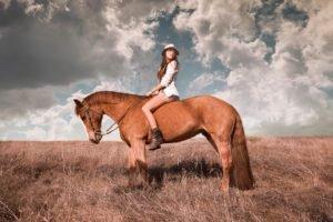 women, Model, Brunette, Long hair, Women outdoors, Nature, Horse, Boots, Short shorts, Blouses, Grass, Field, Clouds