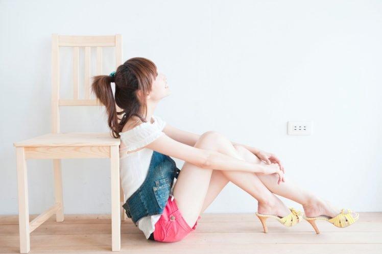 Asian, Short shorts, Legs together, Brunette, High heels, Women HD Wallpaper Desktop Background