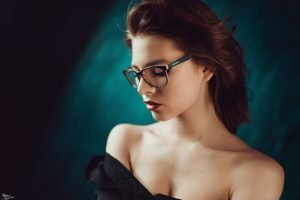 women, Model, Redhead, Glasses, Red lipstick, Georgiy Chernyadyev, Bare shoulders