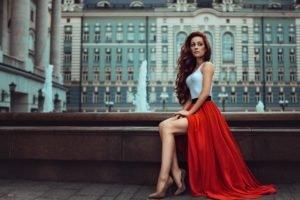 women, Model, Redhead, High heels, Red dress, White tops, Curly hair, Long hair, Georgiy Chernyadyev
