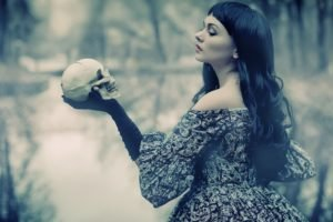 women, Model, Brunette, Long hair, Women outdoors, Dark hair, Black gloves, Dress, Open mouth, Skull, William Shakespeare, Trees, Water, Reflection, Airbrushed