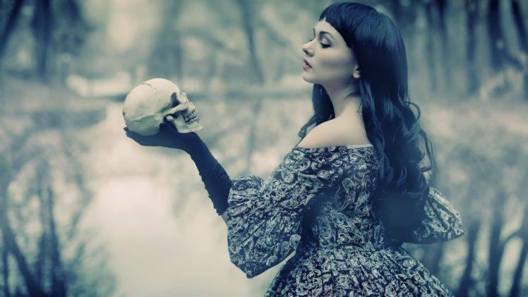 women, Model, Brunette, Long hair, Women outdoors, Dark hair, Black gloves, Dress, Open mouth, Skull, William Shakespeare, Trees, Water, Reflection, Airbrushed HD Wallpaper Desktop Background