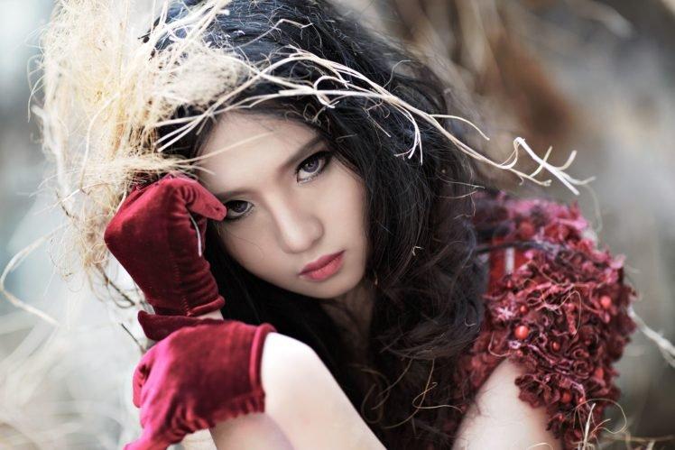 women, Model, Brunette, Long hair, Asian, Face, Gloves, Branch, Depth of field, Looking at viewer HD Wallpaper Desktop Background