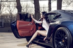 Porsche Cayman, Porsche, Women with cars, Asian, Legs, Brunette, White clothing, High heels