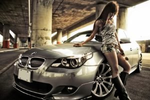 women with cars, Animal print, Jean shorts, Asian, Bangs, Parking lot, BMW